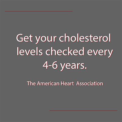 Cholesterol level testing recommendations by the American Heart Association